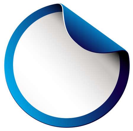white sticker: Blank round sticker on white illustration