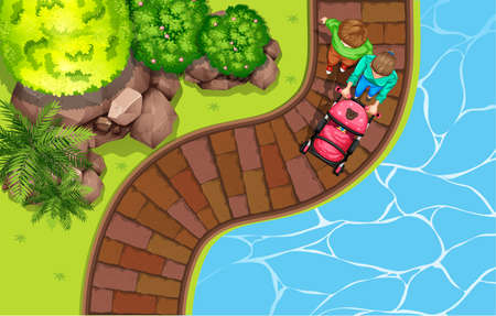 aerial view: Top view of a park illustration Illustration