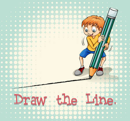 writing lines: Boy drawing a line illustration