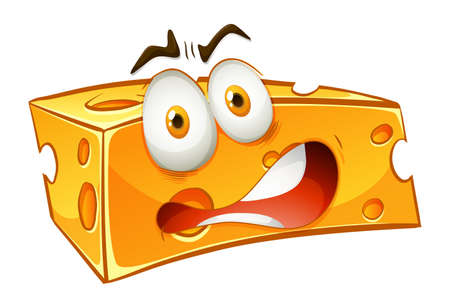 alarmed: Worried looking yellow cheese illustration