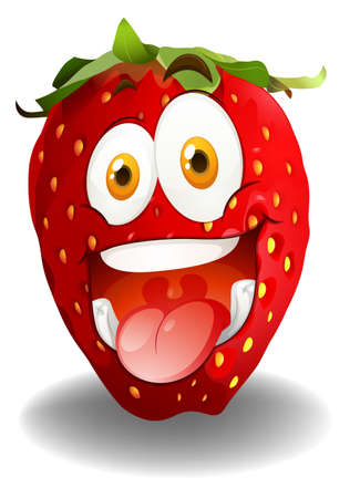 funny pictures: Funny red strawberry face illustration