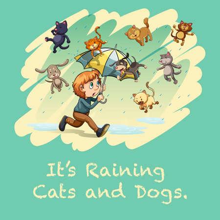 raining: Muchacho con el paraguas bajo la lluvia ilustración