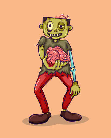 lifeless: Zombie holding brain in hand illustration