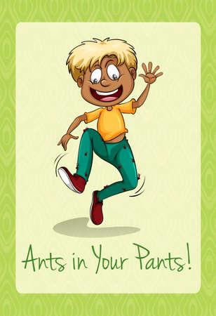 crawling animal: Ants crawling up a mans pants illustration