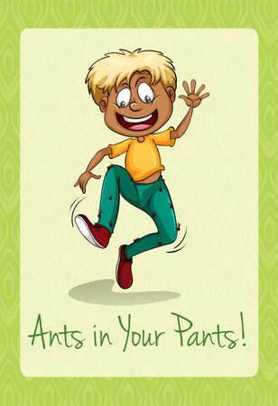 Ants crawling up a mans pants illustration