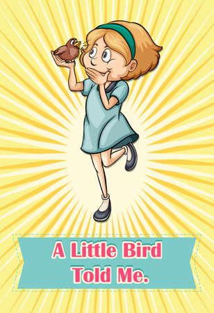 told: Bird saying someting to a girl illustration Illustration