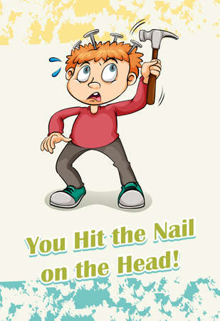 figurative: You hit the nail on the head illustration