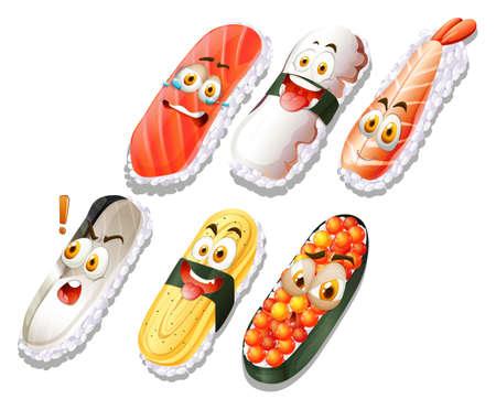 shocking: Sushi set with faces illustration Illustration