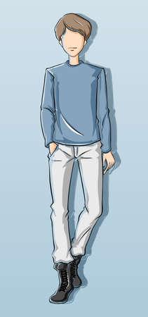 attire: Sketch of a man in blue attire illustration Illustration