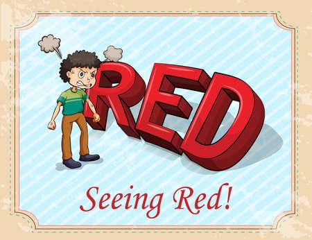 Fuming man seeing red  illustration Ilustrace
