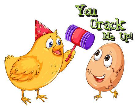 cracking: Chicken cracking an egg illustration