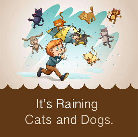 raining: Its raining cats and dogs illustration