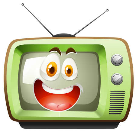 Retro television with face illustration