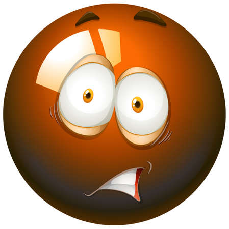 fearful: Fearful facial expression emoticon illustration Illustration