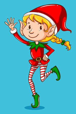 christmas costume: Female elf on blue background illustration