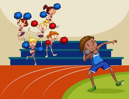 pom pom: Cheerleaders cheering a game illustration