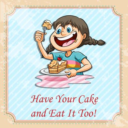 niños comiendo: Tener su pastel y comérselo también la ilustración