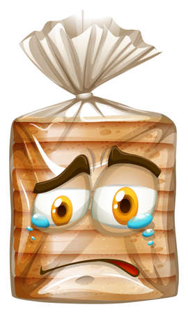 Bread package with crying face illustration