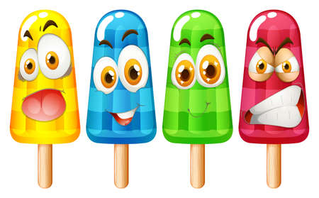ice cream stick with facial expression illustration Illustration