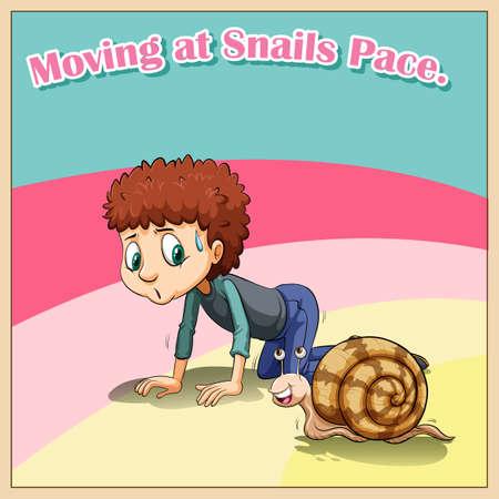 beside: Man crawling beside snail illustration