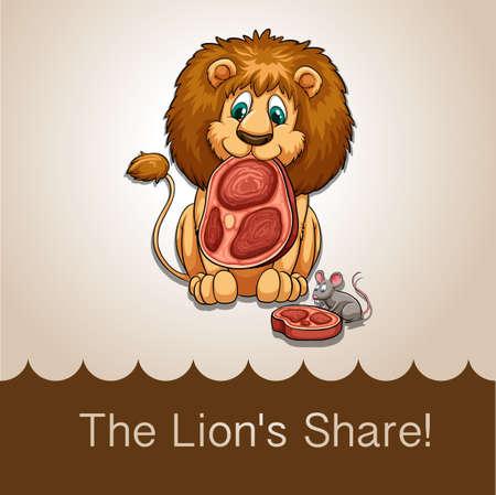 flesh eating animal: Lion eating his share of meat illustration Illustration