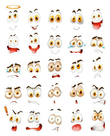 emociones: Conjunto de emociones faciales ilustración