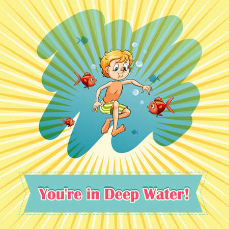 Man in deep water illustration Illustration