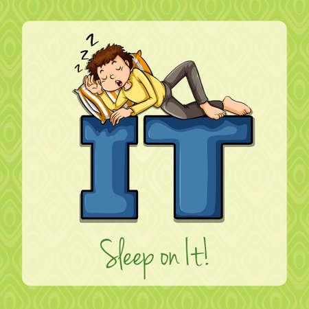 it: Man sleeping on it illustration