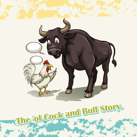 bull cartoon: Old cock and bull story illustration