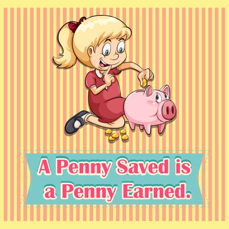 penny: Penny saved is penny earned illustration