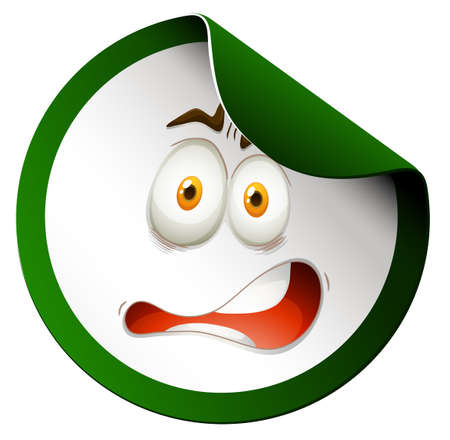 Green sticker with face illustration