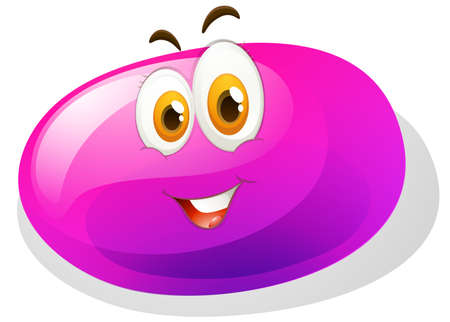 pretty eyes: Purple slime with smiling face illustration
