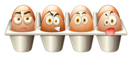 Different emotions eggs in cart illustration