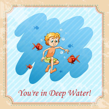 figurative: Youre in deep water illustration Illustration