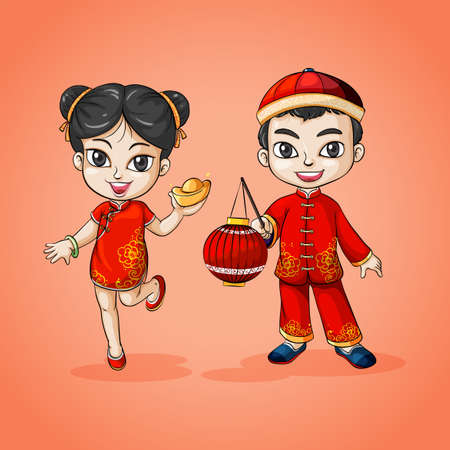 cartoon boy: Man and woman from China illustration Illustration