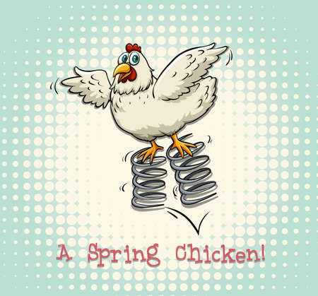 spring: English idiom spring chicken illustration Illustration