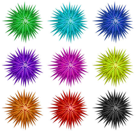 shinning: Colorful balls with spikes illustration