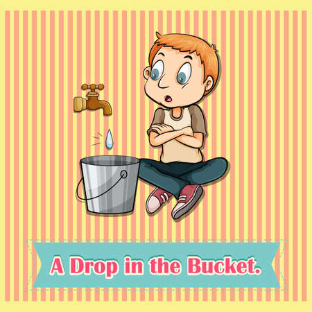 bucket water: Water dropping in bucket illustration