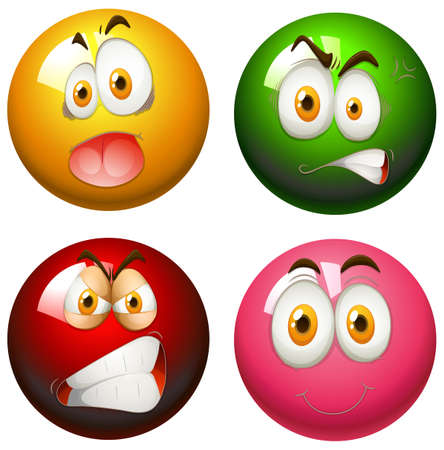 snooker balls: Snooker balls with faces illustration Illustration