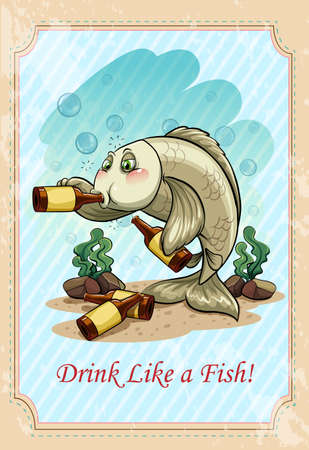 cartoon words: Drunk f ish drinking alcohol  illustration Illustration