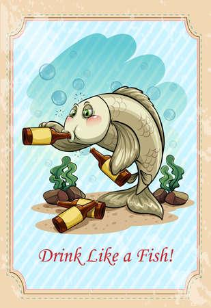drunk cartoon: Drunk f ish drinking alcohol  illustration Illustration