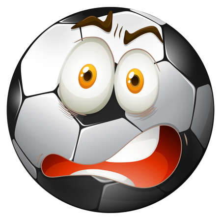 panicky: Startled facial expression football  illustration