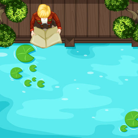 bridge over water: Top view of man reading near the river illustration Illustration