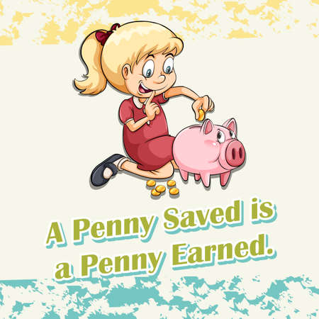 earned: Girl putting money in piggy illustration