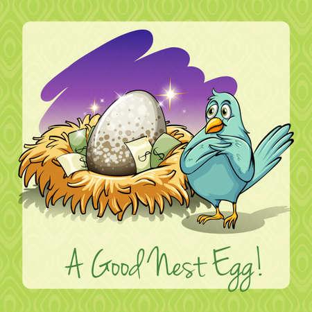idiom: Idiom good nest egg illustration Illustration