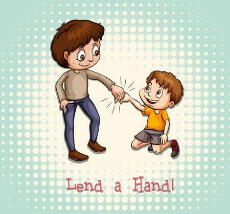 hand holding: Man holding a childs hand illustration