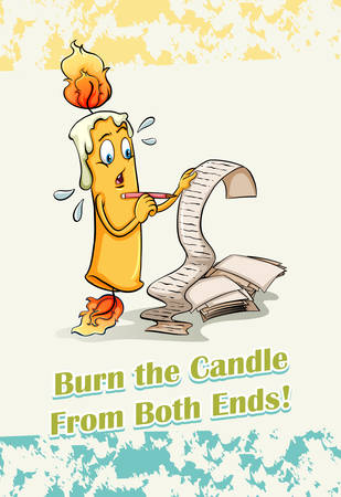 figurative art: Burn the candle from both ends illustration Illustration