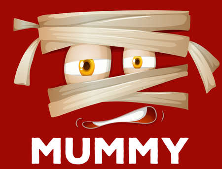 scary halloween: Mummy wrapped with cloth illustration