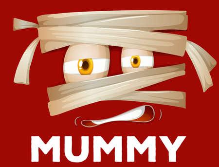eye bandage: Mummy wrapped with cloth illustration