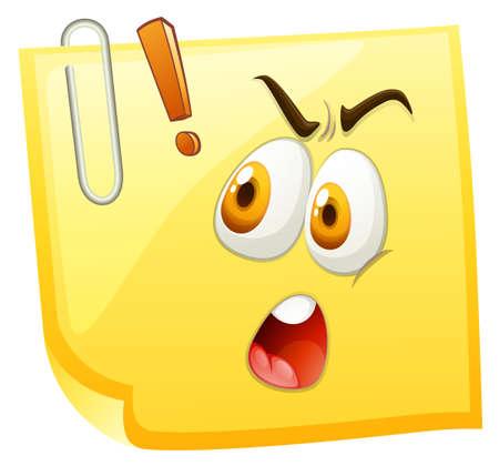 surprising: Shocking face on yellow paper illustration Illustration